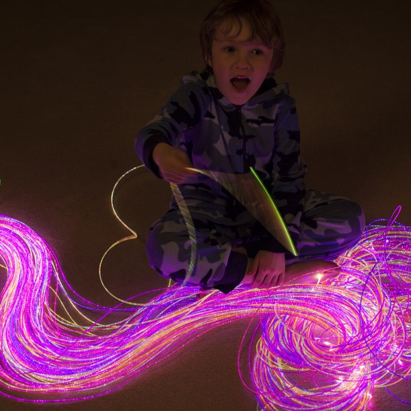 Rope Lights Sensory: 200 X 9'10 UV Reactive Fiber Optic Sideglow Kit